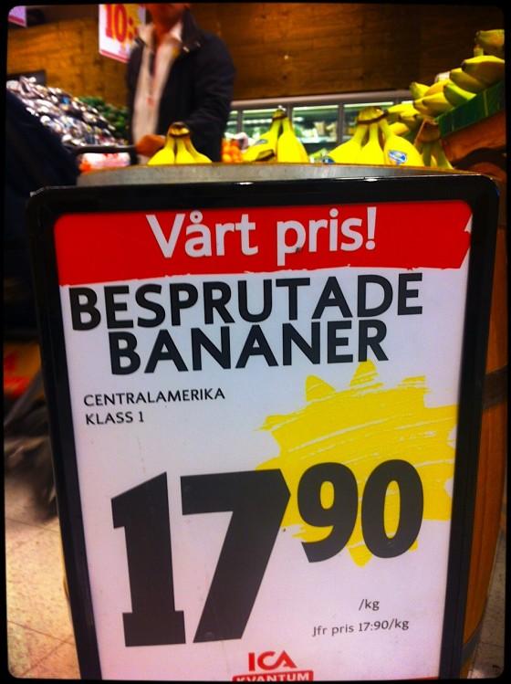 Besprutade bananer