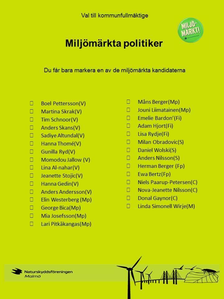 Miljömärkta politiker Malmö 2014